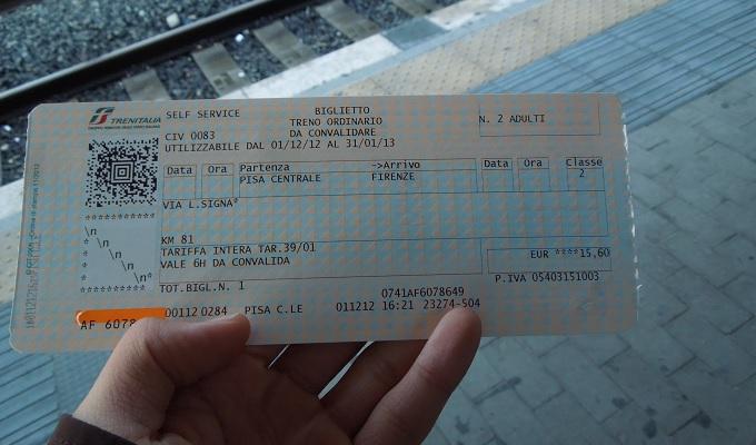 yuフィレンツェ行きのチケット