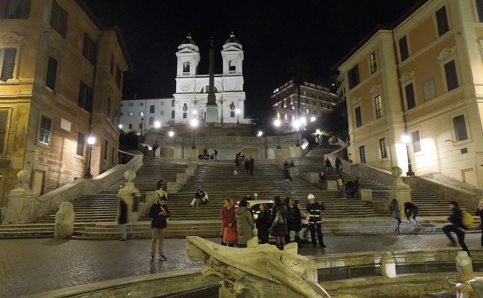 yuローマ2日目夜スペイン広場