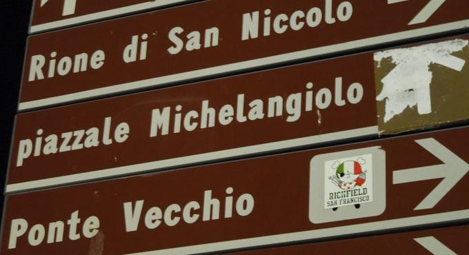 yuフィレンツェミケランジェロ広場の案内板